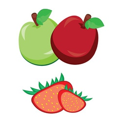 fruit apple with strawberry vector image vector image