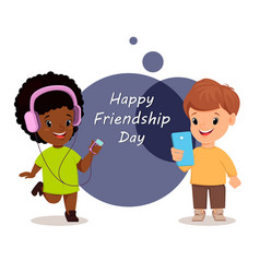happy friendship day smiling girl and boy vector image