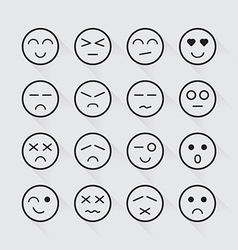 Human emotion icons long shadow set vector image