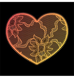 Lace heart gradient applique vector