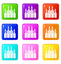 Medieval castle icons 9 set vector