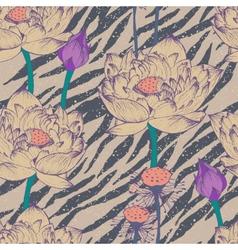 Seamless floral pattern on zebra background vector image