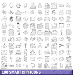 100 smart city icons set outline style vector