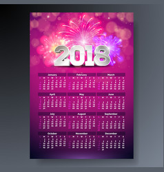 2018 calendar template with 3d number vector image