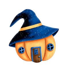 A cute cartoon magic pumpkin house vector