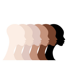 african women profile silhouettes skin colors icon vector image