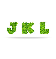 alfavit from the leaves of the clover letters jkl vector image