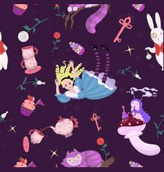 Alice in wonderland seamless pattern vector