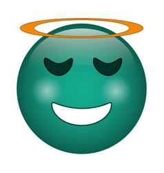 angel emoticon style icon vector image