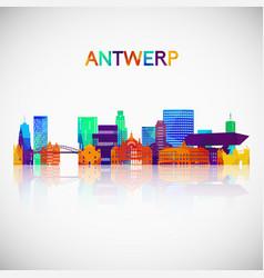 Antwerp skyline silhouette in colorful geometric vector