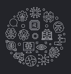 artificial intelligence round line concept vector image