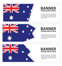 Australia flag banners collection independence day vector