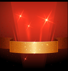 Banner with golden ribbon on dark red background vector