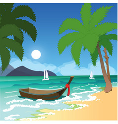 Beach with palms and boat vector