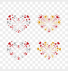 beautiful heart-fireworks set romantic salute vector image