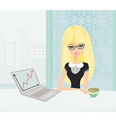 Beautiful secretary working with computer in vector