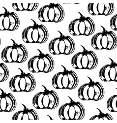 Black and white seamless pattern with pumpkins vector image