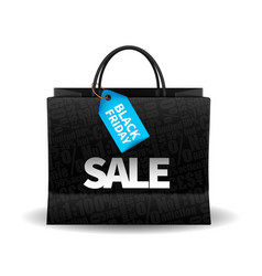black friday shopping bag and sales tag marketing vector image