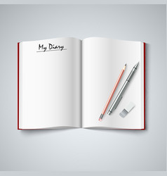 Blank diary were pages and pencil vector