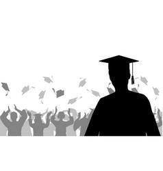 Boy graduate on background joyful crowd vector