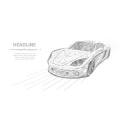 car polygonal wireframe high speed motion vector image