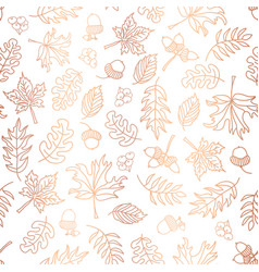copper foil autumn leaves background tile vector image
