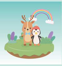 cute and little penguin and reindeer in field vector image