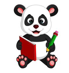 cute panda reading a book vector image
