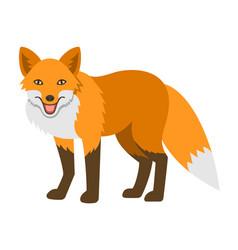 Cute smiling red fox cartoon vector