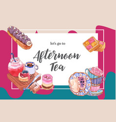Dessert frame design with various cake watercolor vector