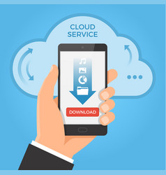 Downloading from cloud concept hand holding vector