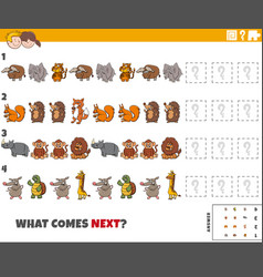 Educational pattern game for kids with animals vector