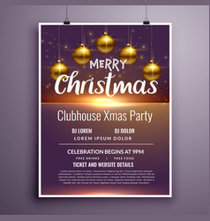 elegant merry christmas party flyer invitation vector image