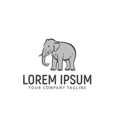 elephant hand drawn logo design concept template vector image