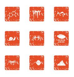 Evolution icons set grunge style vector