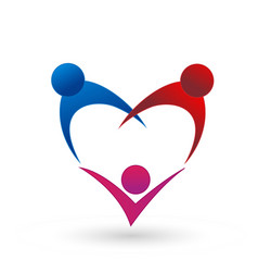 Family team people heart figure logo vector