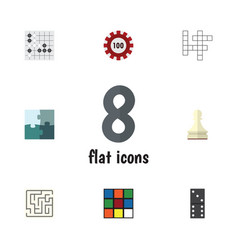 Flat icon games set of poker gomoku bones game vector