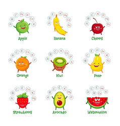 funny fruit characters with vitamins and minerals vector image