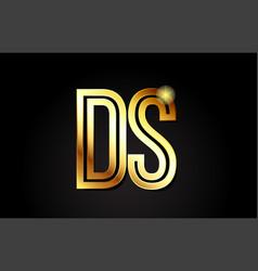 Gold alphabet letter ds d s logo combination icon vector