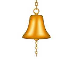 Golden bell with a chain vector