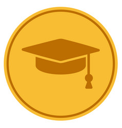 graduation cap gold coin vector image