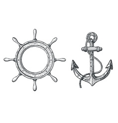 hand drawn an anchor and a steering wheel vector image
