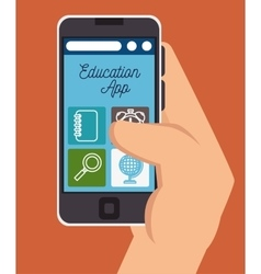 hand holding education online smartphone design vector image