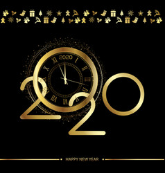 happy 2020 year card with gold text and clock vector image