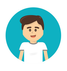 Happy boy with facial expression and casual cloth vector