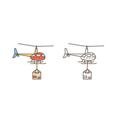 helicopter icon with package box delivery vector image