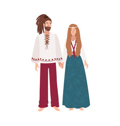 Hippie man and woman with long hair dressed in vector