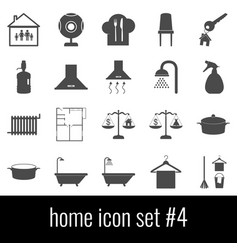 home icon set 4 gray icons on white background vector image