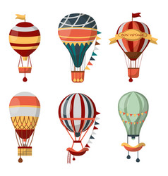 hot air balloon retro icons bon voyage vector image