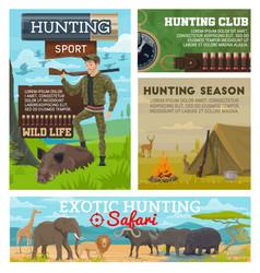 Hunting season animals hunter ammo equipment vector